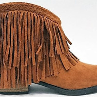 Fringe Ankle Bootie in Rust Brown