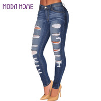 fall women denim destroyed skinny jeans high waist jeans woman stretchy ripped hole pencil pants vaqueros mujer TIML66