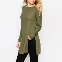 Army Green Long Sleeves Round Neck Side Slit Top