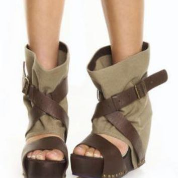 Irregular Choice Eat Me Whole Beige Slouchy Wedge Booties