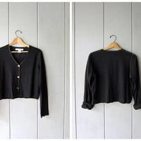 90s Black Cotton Top Cropped Ribbed Shirt Button Up Cotton Shirt Vintage Minimal Boxy Shirt Modern Crop Top Long Sleeve Tee Womens Small