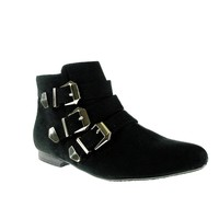 Women's Breckelle's Belted Ankle High Fashion Boots Astro-11 Black