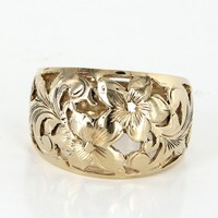 Hawaiian Plumeria Flower Dome Vintage Wide Band Cocktail Ring 14 Karat Yellow Gold 7