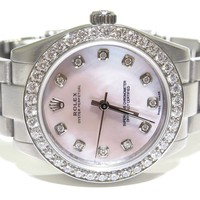 Ladies ROLEX 177200 Oyster Perpetual Pink Diamond Dial SS Watch W/ Box & Papers