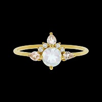 14kt Rainbow Moonstone, Morganite and Diamond Unicorn Ring