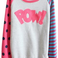 Polka Dot and Stripe Print Sweatshirt with Letter Pattern - Beautifulhalo.com