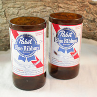 Drinking Glasses from Recycled Pabst Blue Ribbon Beer Bottles, 8 oz, Unique Barware, Unique Gift, ONE glass