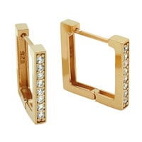 .925 Sterling Silver Nickel Free Rose Gold Plated 17mm Square Huggie Earrings With 2mm Cubic Zirconia Pave