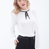 LOVE 21 Pleated Bow-Front Blouse White/Black