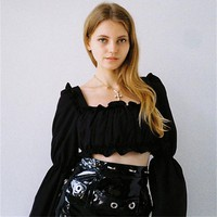 New multi-color micro-rabbit square collar lace pleated long-sleeved tube top