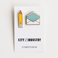City of Industry — Enamel Pin Correspondence Set