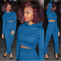 Blue Hooded Cropped Top and Pants Set