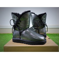 UGG Waterproof Antifouling Fabric Butterfly Lace Silver Black Snow Boots