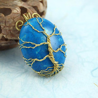 Blue Howlite Tree of Life gold color wire-wrapped pendant