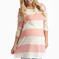 Coral Striped Knit Crochet Accent Maternity Top