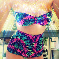 Multi Tie Dye High Waisted Bikini Bottoms