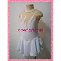 New exclusive Ice figure skating dress 073-1A -cheap white beaded short sleeves ice skating dress : Docostume.com