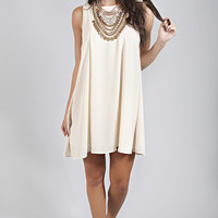 pleated perfection shift dress - cream