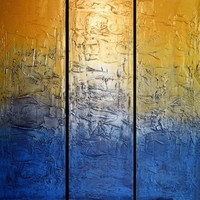 "View: extra large huge triptych 3 panel wall art silver gold blue effect painting big "" Silver and gold "" abstract impasto elegant abstraction 4ft x 4ft and 6ft x 6ft 