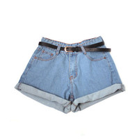 Vintage Blue Shorts with Belt