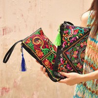 2016 Women's Retro Embroidered  Purse Wallet Ethnic Clutch Bag Card Coin Holder Phone Bag 8ODN