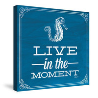 Live in the Moment Blue Canvas Wall Art