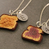 Peanut Butter and Jelly Personalized Necklaces - BFF Hand Stamped Charms - Best Friend Jewelry - Personlized Hand Stamped Jewelry