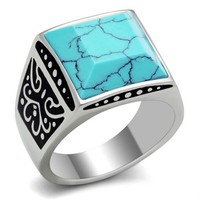 Men's 316L Stainless Steel Faceted Blue Veined Stone Ring