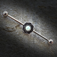 Opal Glitter Centered Heart Filigree 316L Surgical Steel Scaffold Industrial Barbell Body Jewelry