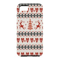 Natt Knitting Red Deer White Hearts Cell Phone Case