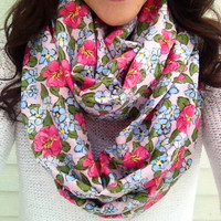 Bloom Spring Infinity Scarf in Pink, White, and Olive