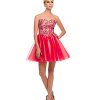 Red Strapless Sweetheart Beaded Bodice Dress 2015 Homecoming Dresses