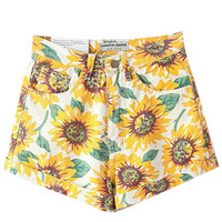 Sunflower Print Double Pocket Shorts