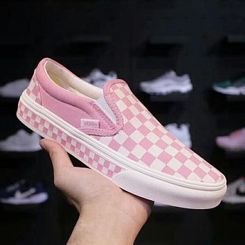 Vans Classic Popular Slip-On Old Skool Checkerboard Casual Canvas Sneakers Sport Shoes Pink I-A36H-MY