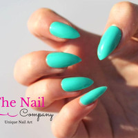 Handpainted Fake Nails Set  - Turquoise False Nails - Stiletto Nails, Oval Nails or Square Nails - Glossy Press On Nails - Womens Accessory