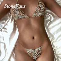 Gold Handmade Sexy Jewelry Crystal Lingerie Chain Set for Women Bling Rhinestone Body Chain Beach Bikini Underwear Jewelry