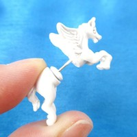 Fake Gauge Earrings: Mythical Unicorn Animal Front and Back Stud Earrings in White