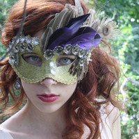 Gold Masquerade Mask gold Masquerade ball mask Gold halloween mask fairy mask mardi gras mask peacock feather gold mask bridal mask  DAPHNE