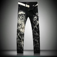 Men`s Printed Punk Style Gothic Jeans