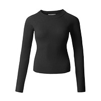 Fitted Soft Ribbed Knitted Raglan Long Sleeve Boat Neck Top (CLEARANCE)