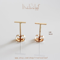 14K Solid Gold Tiny Staple Earrings, Small bar studs, Line Stud earrings,T staple Earrings 14K Yellow and or White Gold trendy everyday wear