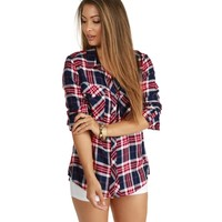 Navy Cool Girl Plaid Shirt