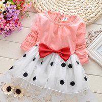 2016 baby Girls princess party dress spring autumn long sleeve bowknot dot voile dresses cute children girls dresses clothes