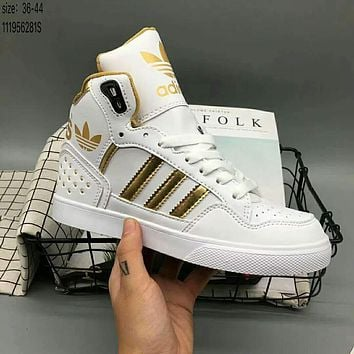 Adidas high men and women casual fashion trendy sports shoes F-HAOXIE-ADXJ White + gold logo