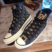 DIOR new letter high-top shoes women's thick-soled all-match student board shoes casual canvas single shoes