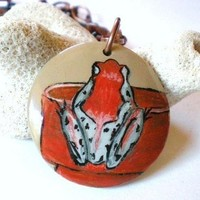 Hand Painted Pendant Red Frog in the Garden Red Feldspar Copper Chain