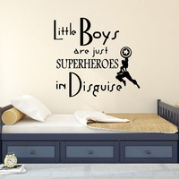 Wall Decals Little Boys Are Just Superheroes Quote Decal Kids Nursery Vinyl Stickers Home Bedroom Decor Playroom Art T94