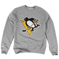 Mens Pittsburgh Penguins Mitchell & Ness Ash Primary Logo Tailored Fit Crew Neck Sweatshirt