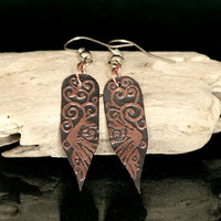 Raven song: flight - etched copper earrings. Raven earrings. Unique handmade earrings. Etched jewellery.