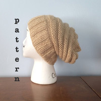 PATTERN Contrast Ribbed Knit Beanie - Knit Beehive Hat Patterns - Slouch Hat Pattern - Knit Womens Beanie Pattern - Knit Mens Beanie Pattern